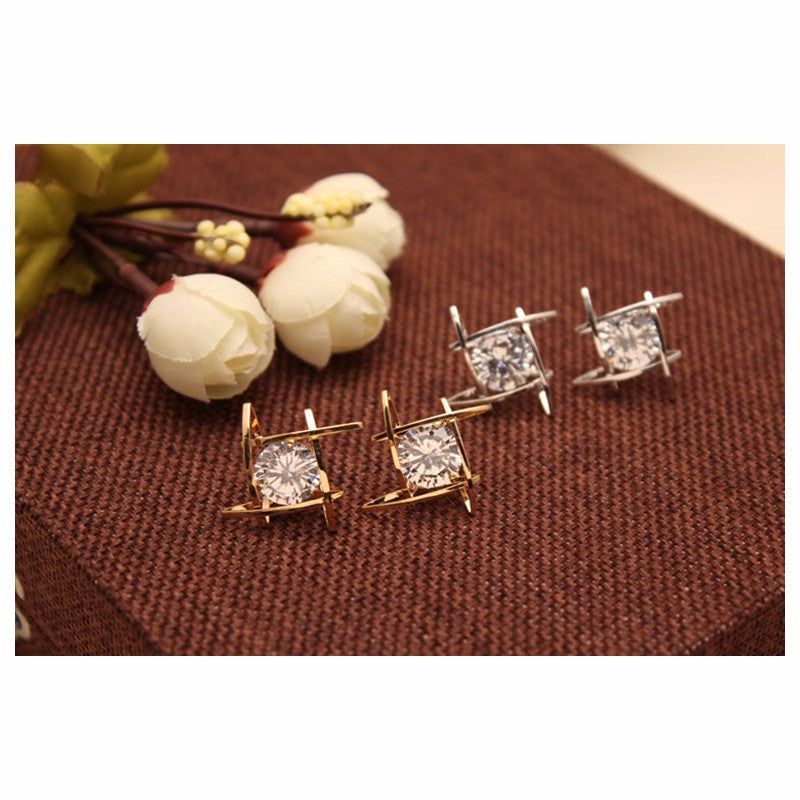 Elegant and Charming Silver/Gold Rhinestone Full Crystals Square Stud Earrings for Women