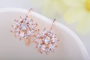 3 Colors Luxury Gold Color Flower Stud Earrings with Zircon Stone