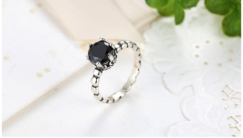 Genuine 100% 925 Sterling Silver Ring with Black Cubic Zirconia