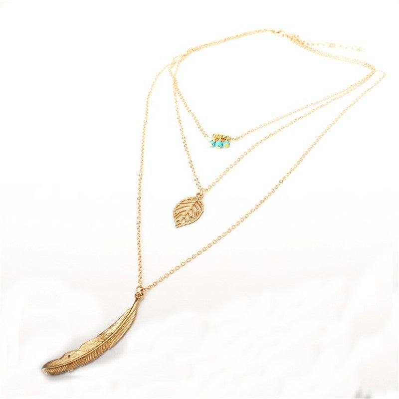 Leaf Long Pendant 3 Layer Chain Necklace