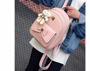 Women PU Leather Back Pack with Purse and Bear 2018