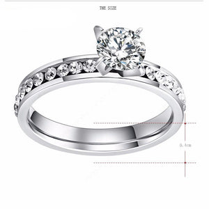 Stainless Elegant Circle CZ Ring For Women