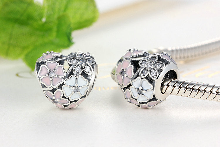 925 Silver Poetic Blooms, Mixed Enamels & Clear CZ Heart Charms Fit  Bracelet Accessories