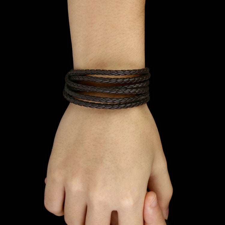 Fashion Unisex Leather Wide Retro Black & Brown Color Chain Bracelets