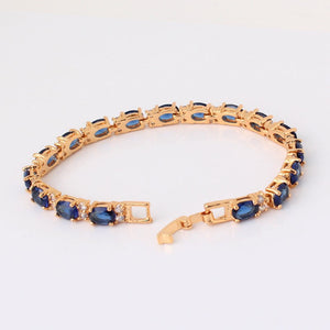 Luxury  Silver/Gold Color/Clear/Blue Oval Crystal Zirconia Bangle Bracelet