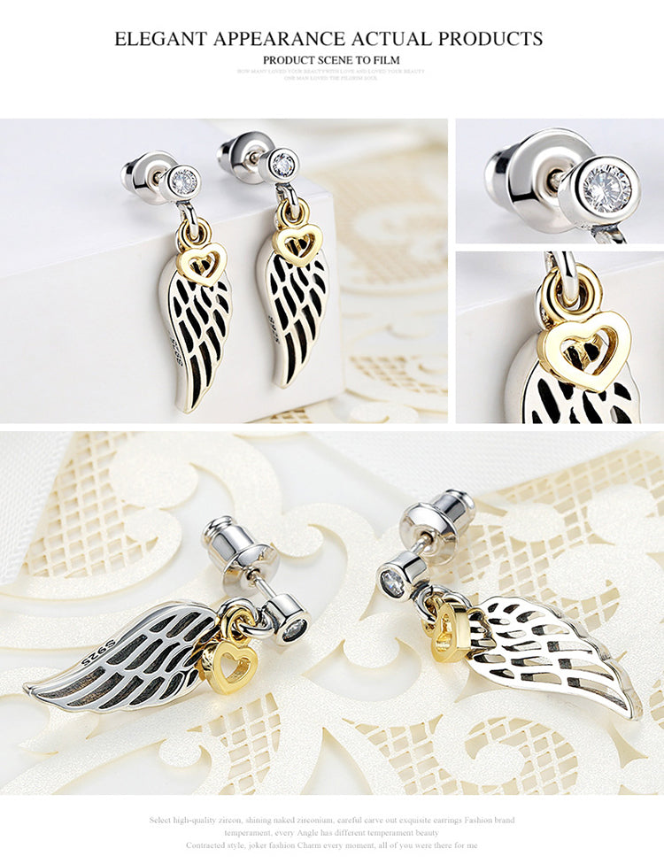 Fashion 925 Silver Plated Feather Wing Heart Pendant Drop Earrings