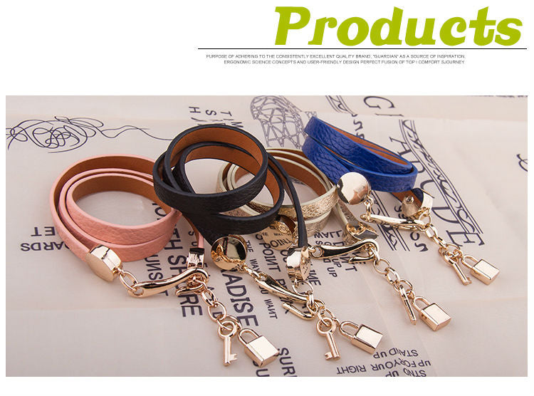 Luxury Gold Color Genuine Three Circle Leather Bracelet