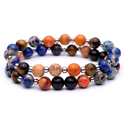 Tiger Eyes Natural Stone Round Beads Men Bracelet