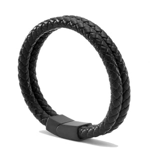 Genuine Leather Braid Magnetic Buckle Clasp Bracelet