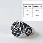 Stainless Steel Seeing Eye Titanium Men Ring