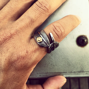 Goro Feather Stainless Steel Ring