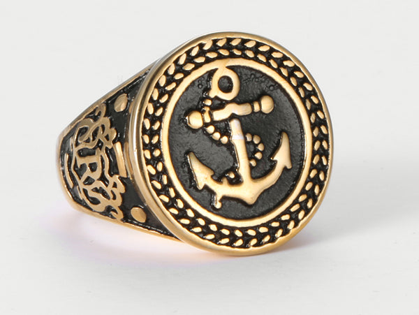 Stainless Steel Gold/Silver Color Anchor Biker Ring