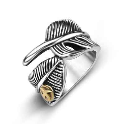 Takahashi Goro Eagle Feather Titanium Steel Ring