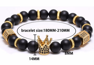 Micro Pave Black CZ Zirconia Gold King Crown Bracelet