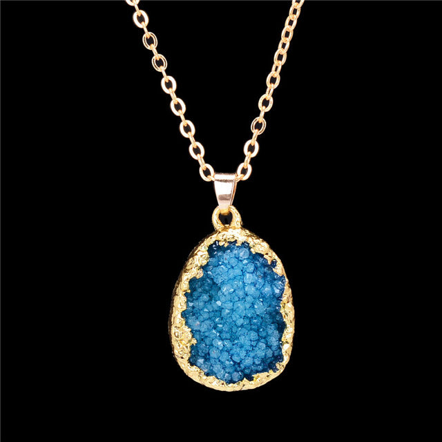 Natural Stone Gold Crystal Pendant Necklace