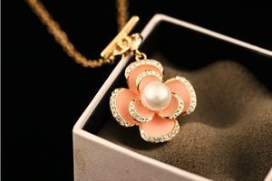Camellia Simulated Pearl Crystal Pendant Necklace