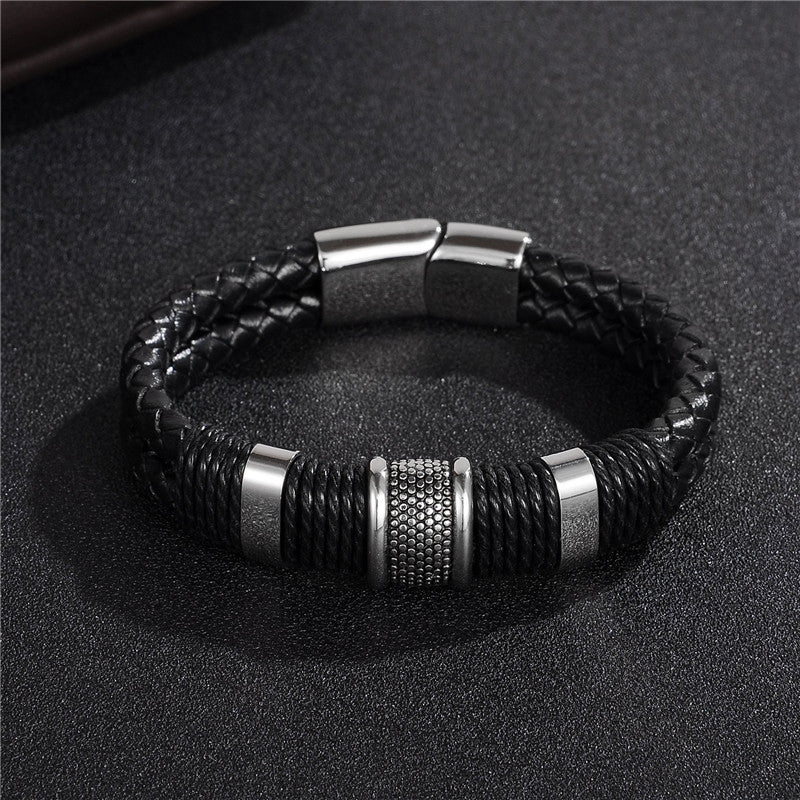 2018 Fashion Black Braid Woven Leather Titanium Stainless Steel Bracelet
