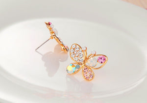 2018 New HOT Hollow Out Pearls Colorful Rhinestone Butterfly Earrings