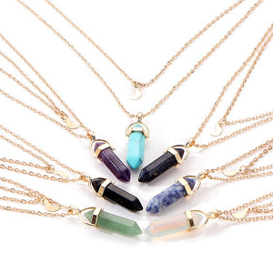 Vintage 2018 Multi Color Opal Stone Moon Boho Necklace