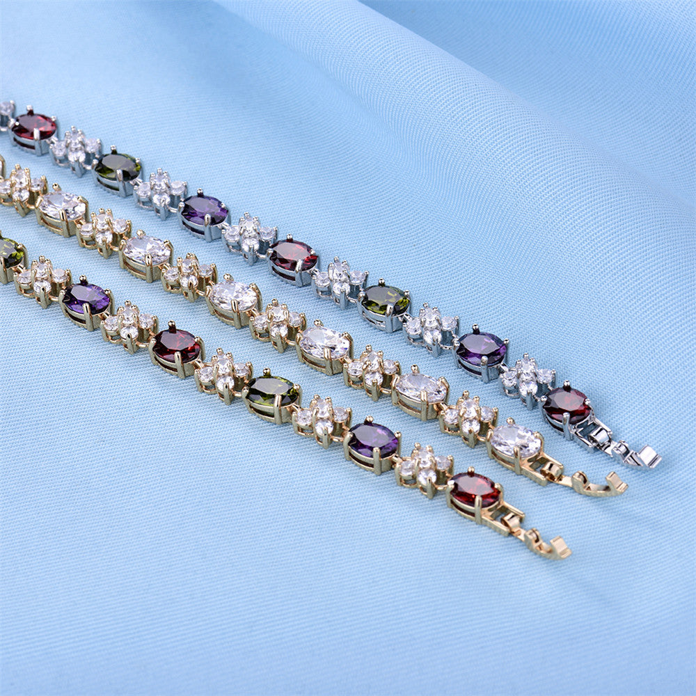 Colorful Zironia Stones CZ Beautiful Charm Bracelet