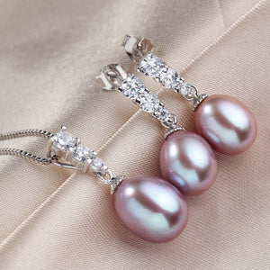 Hot selling 925 Sterling Silver Jewelry Sets 100% Genuine Freshwater Pearl