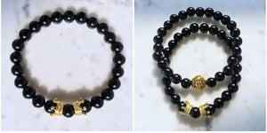 Lion Head with 8mm Natural & OXY Stone Beads Pave CZCrown Bracelet
