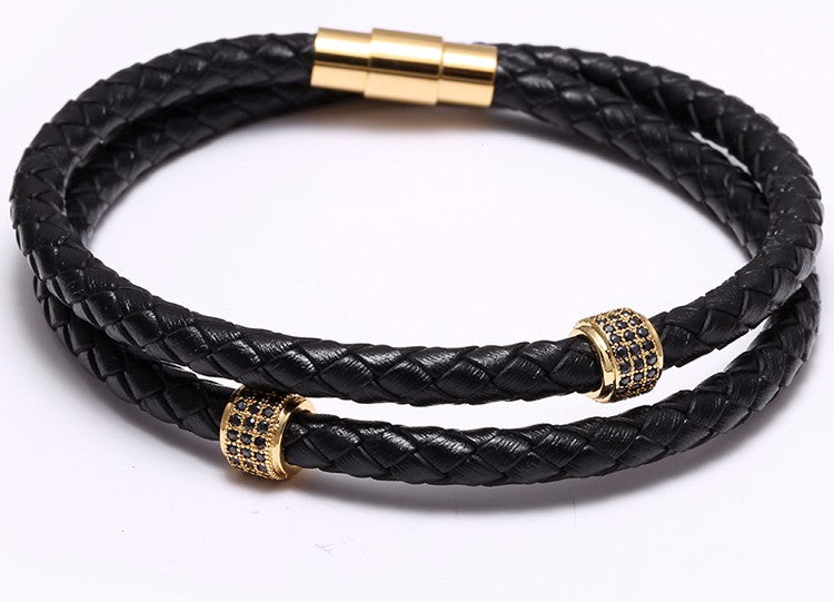 Stainless Steel Gold/Silver Black Wristband Bangle Leather Bracelet