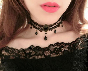 Black Flower Rhinestone Bijoux Fashion Velvet Choker Necklace