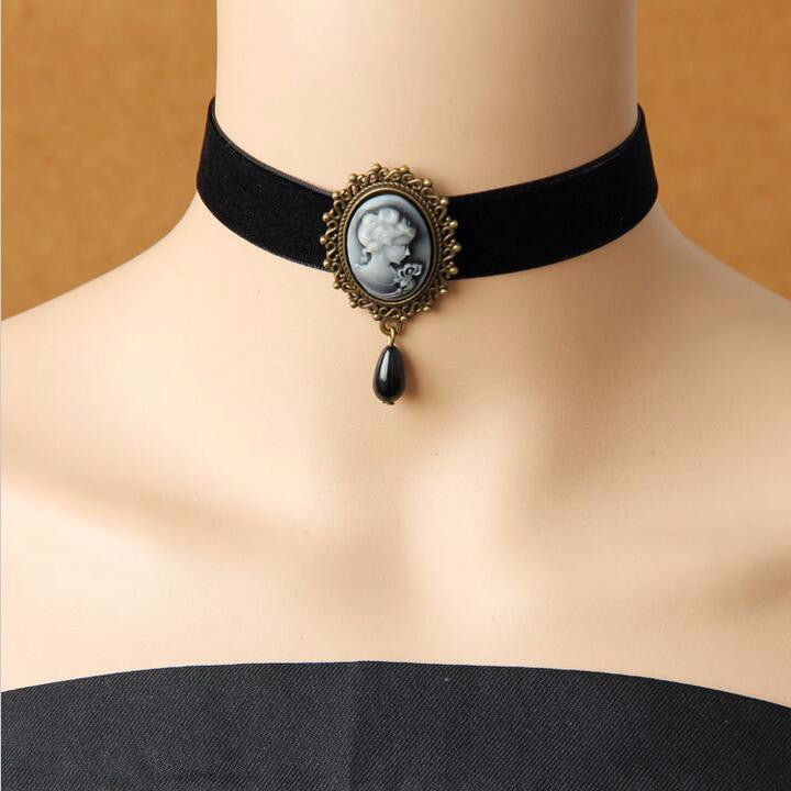 Vintage Lace & Pendants Choker Necklace