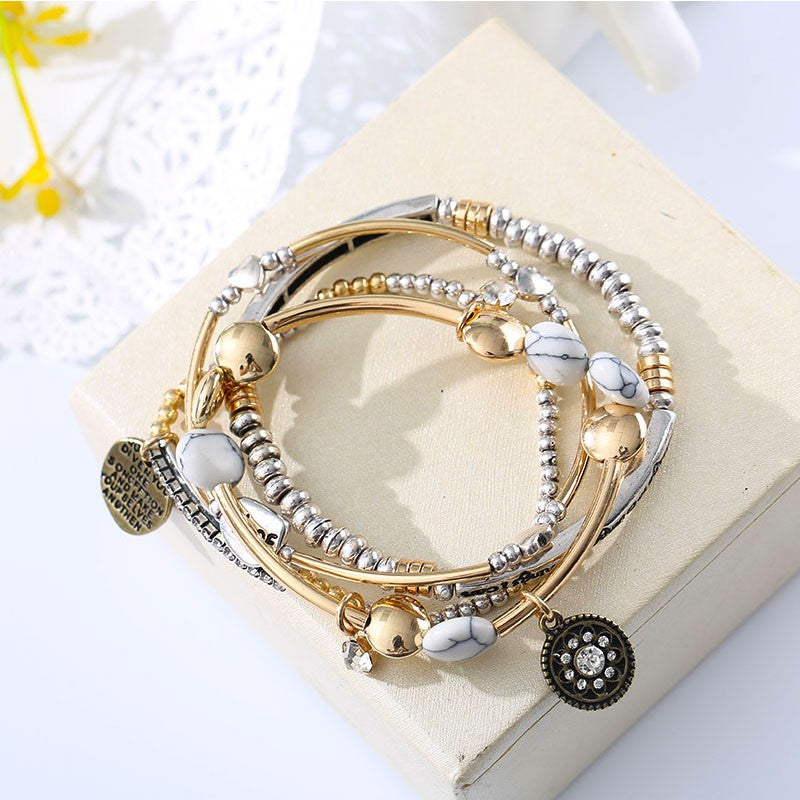 4Pcs/Set Vintage Fashion Multilayer Beads Hope Letter Blue white Stone Bracelet