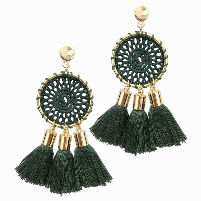7 Colors Net Weaving Bohemia Tassels Earing