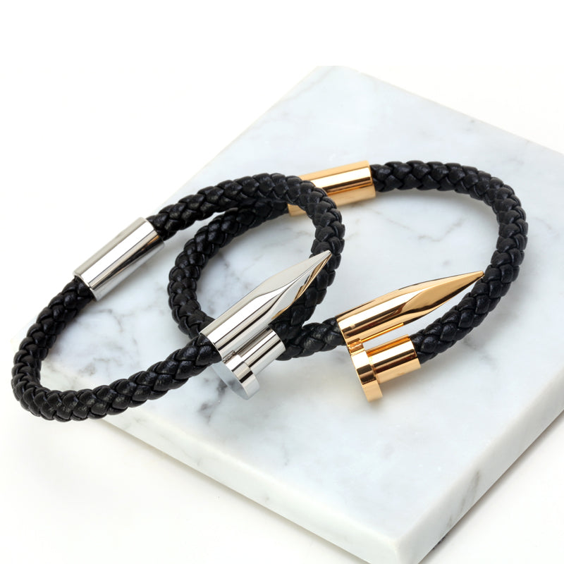 Pulseiras 6mm Weave Genuine leather Nail Gold/Silver Color Bracelet