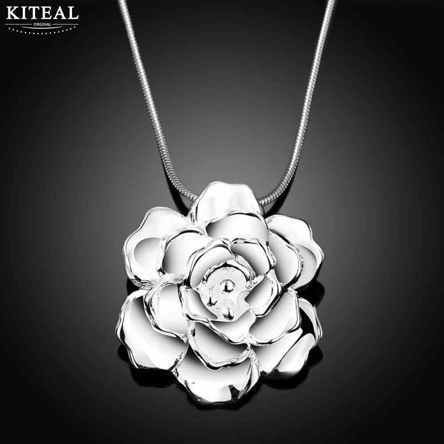 2018 Vintage Big Rose Flower Silver Plated Fashion Necklace