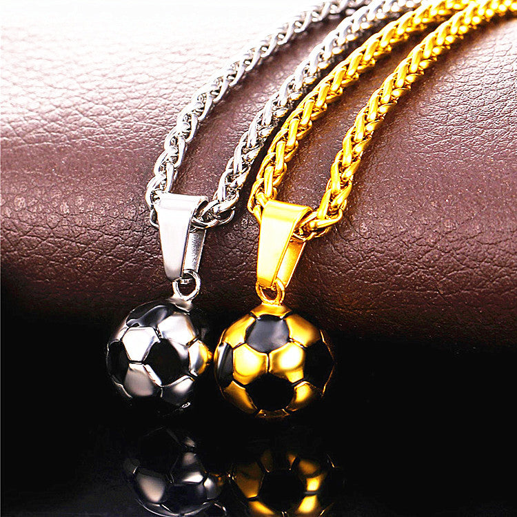 Soccer Gold/Silver Color Stainless Steel Fitness Football Sport Pendant & Chain  Necklace