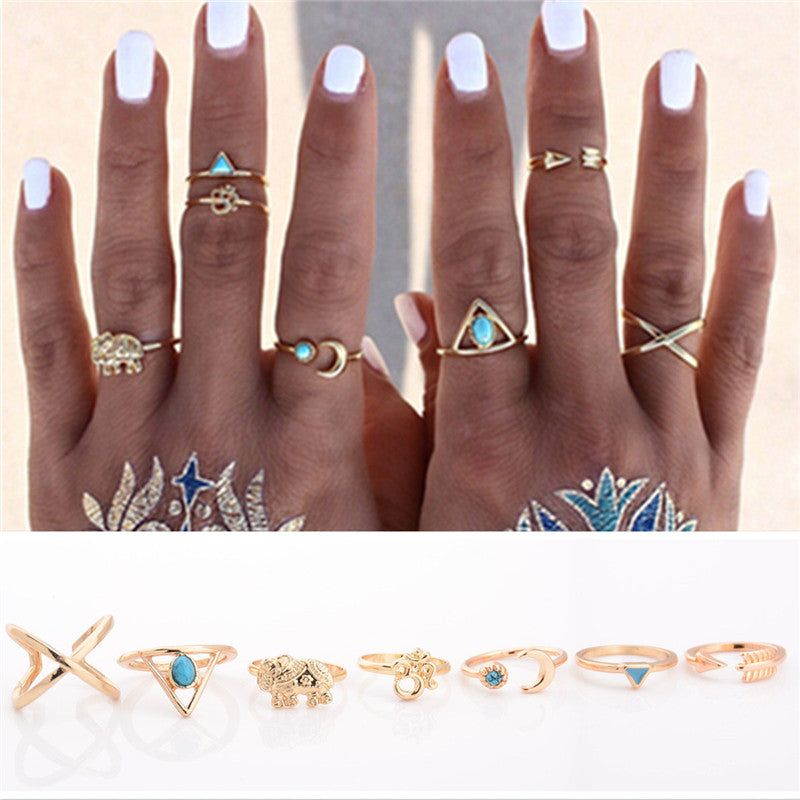 7PCS/Set Retro Vintage Antique Gold/Silver Color Lucky Arrow  Ring Set