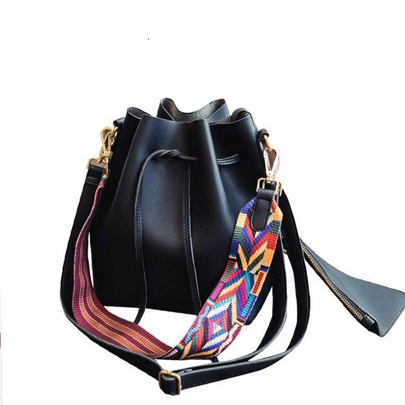 Luxury Women Designer Shoulder Drawstring PU Leather Crossbody Bag
