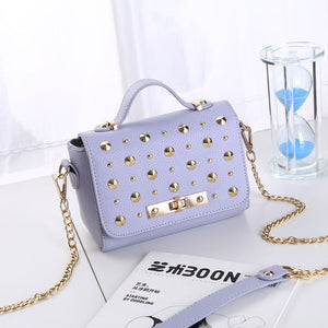 2018 New Fashion 7 Colors PU Leather Ladies Rivet Handbags