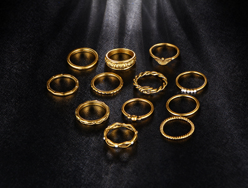 12 pc/set Charm Vintage Boho Gold/Silver Color Ring Set