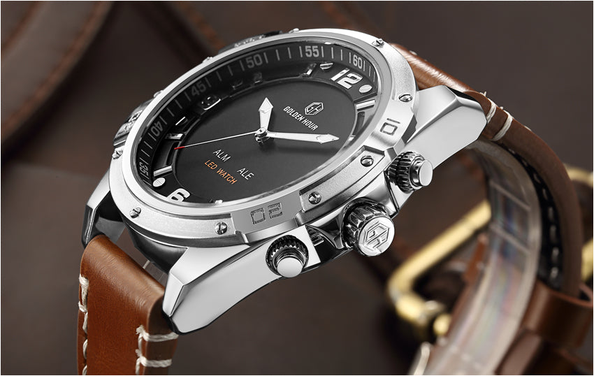 GOLDENHOUR Quartz Analog LED Leather Military Waterproof Watch Relogio Masculino