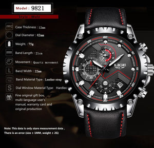 LIGE Sport Waterproof Quartz Stainless Steel Watch
