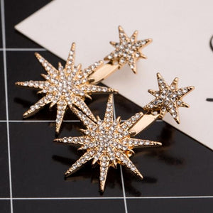2018 New Style Full Crystal Front Back Double Sided Stud Earrings
