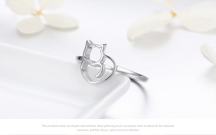 100% 925 Sterling Silver Little Cat & Heart Ring