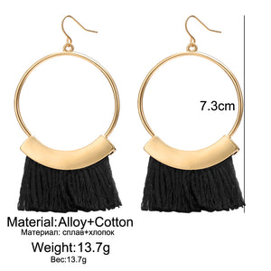 New Bijoux Black Tassel Bohemian Big Round Hook Earings
