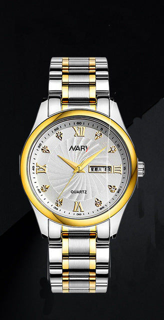 Women And Men Quartz Stainless Steel Rhinestones Calendar Luxury Wrist Watches