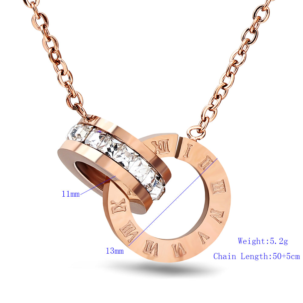 Hot Selling Stainless Steel Rose Gold Color Roman Earring & Necklace Jewelry Set