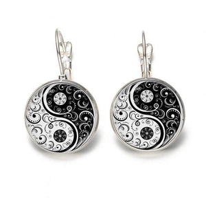 Hot Selling Glass Cabochon White And Black Yinyang Art Stud Earing Silver/Bronze Color
