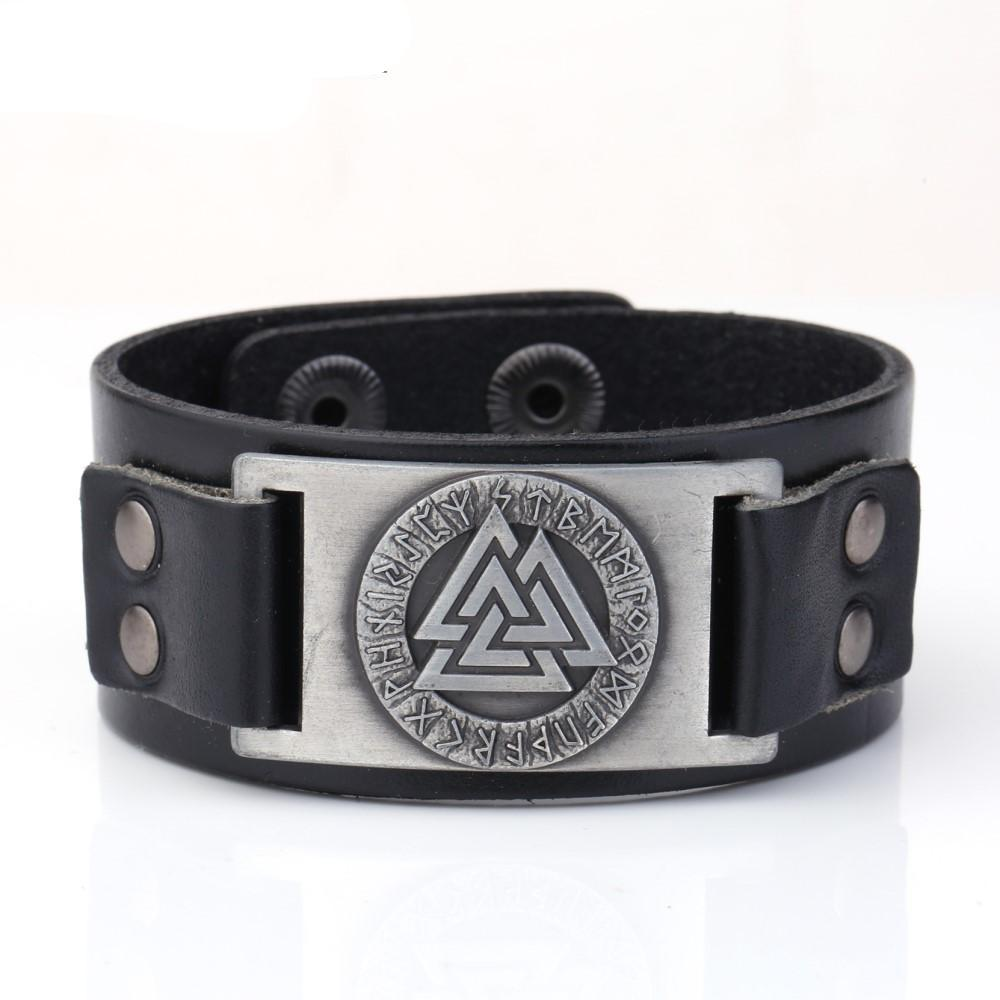Odin 24 Norse Runes Slavic Tailsman Warrior Amulet Ethnic Viking Leather Wristband