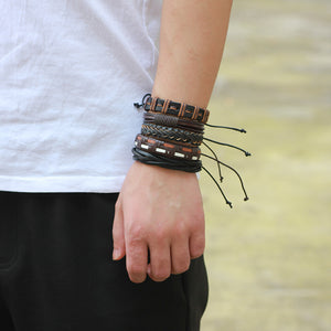 2018 Men's Leather Weave Black Multilayer Adjustable 5PCs/set Bracelets