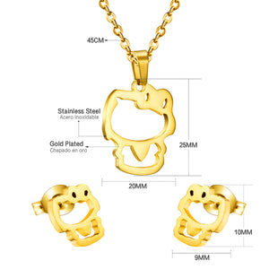 Hot Cute Gold/Silver Cat Pendant Necklace Earrings Set
