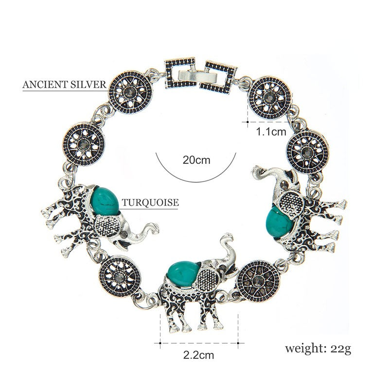 Bohemian Style Fashion Green/Red/Black/Blue Stone Vintage Cute Elephant Jewelry Set